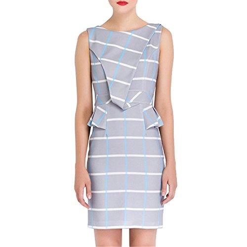 [DicoverCandy Luxury Dress Women Fashion Geometric Print OL Work Office Dress European Asymmetrical New Dresses Gray] (Group Dressing Up Ideas)