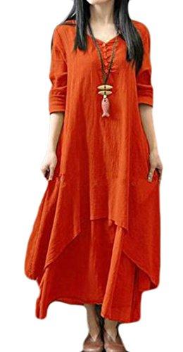 Manches Longues Femmes Cromoncent Lâche Ourlet Couches Confort Pur Lin De Couleur De L'orange Robe Longue