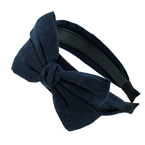 - 1PC Vintage Solid Suede Bowknot Hairband Women Bow Ties Shape Hair Hoop Headband Headwear For Girls Hair Accessories Navy