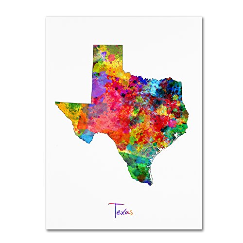 Texas Map by Michael Tompsett, 35x47-Inch Canvas Wall Art