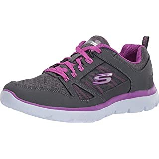 Skechers Women's Summits-New World Sneaker, Charcoal/Purple, 7.5 M US