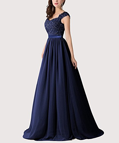 E007LF TalinaDress Gown Royal Floor Length Bridesmaid Applique Back Blue Dress Formal Sheer Chiffon BBqzROxvw