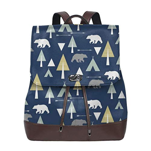 Fashion Leather Backpack Bear Camp Glacier Lake On Midnight Purse Waterproof Anti Rucksack PU Leather Bags