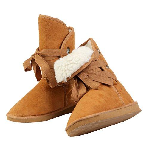 Damen Drei Löcher Anschnallen Schneeschuhe Schuhe Winter Warm Boots Warm Pelz Schnee Stiefel Stiefeletten Schneestiefel Rosa Braun
