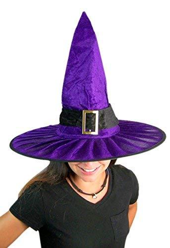 Needzo Adult Womens Purple Velvet Cute Witches Hat 15 Inches -