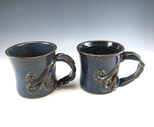 Set of 2 Hand Made Pottery Tree Vine Mug/Hand Made Tree Vine Mug/ 8-10 ounce Pottery mug