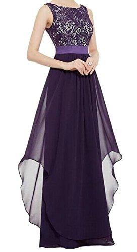 Evening Splicing Neck Dresses Purple Lace Jaycargogo Waist Sleeveless Stylish Scoop Accept Party Womens pnqwRO