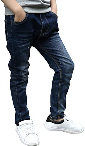 Bienzoe Little Boys Cotton Adjustable Waist Slim Denim Pants Blue Jeans