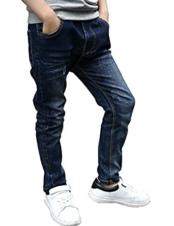 BYCR Boys' Skinny Elastic Waist Denim Jeans Pull On Pants for Kids H9165108002 (110 (US Size 4), Blue)