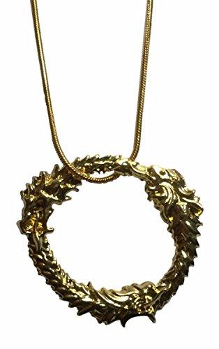 Price comparison product image Elder Scrolls Skyrim Ouroboros Dragon Gold Color Metal Pendant Necklace