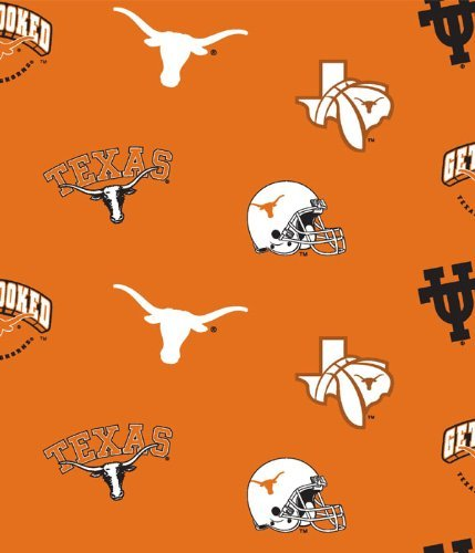 (NCAA University of Texas Longhorns Team Licensed All Over Cotton Fabric)