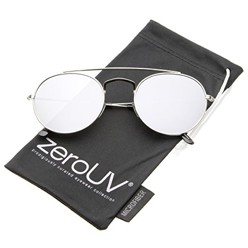 zeroUV - Classic Full Metal Double Bridge Crossbar Flat Lens Round Aviator Sunglasses 54mm (Silver/Silver Mirror) (Aviator Bridge)