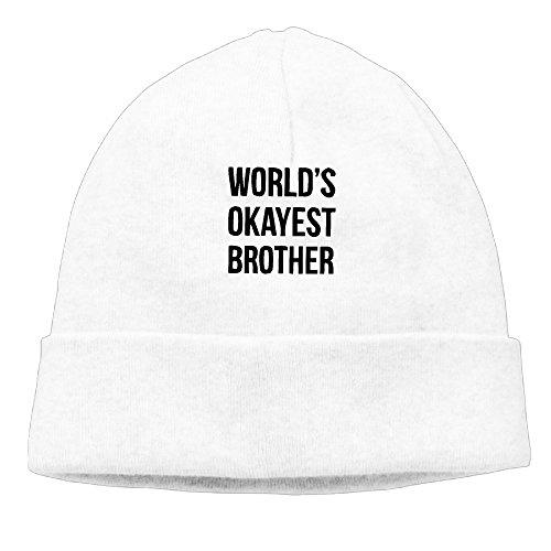 Okayest hermano del mundo impreso Beanie gorro de esquí, diseño Funny colección forro polar gorro Blanco