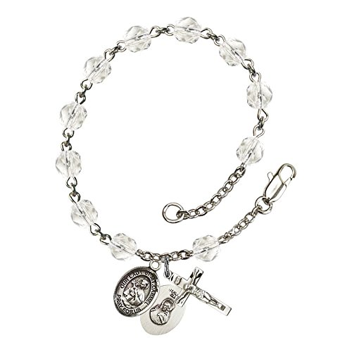 Our Lady of Mount Carmel Silver Plate Rosary Bracelet 6mm April Crystal Fire Polished Beads Crucifix Size 5/8 x 1/4 medal -