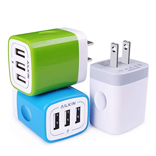 (USB Plug in Wall Charger, Charging Block, 3Pack Ailkin 3.1A Fast Charge 3- Port Power Adapter Cube Box Brick Base Compatible with iPhone, iPad, LG, Honor, Samsung, Kindle Fire, Blue, All USB)