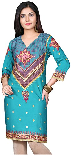 Indian Tunic Top Womens Kurti Printed Blouse India Clothing – Large, L 103