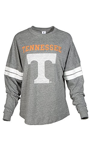 NCAA Tennessee Volunteers Betty Long Sleeve Tri-Blend Football Jersey T-Shirt, Large, Tri Grey/White