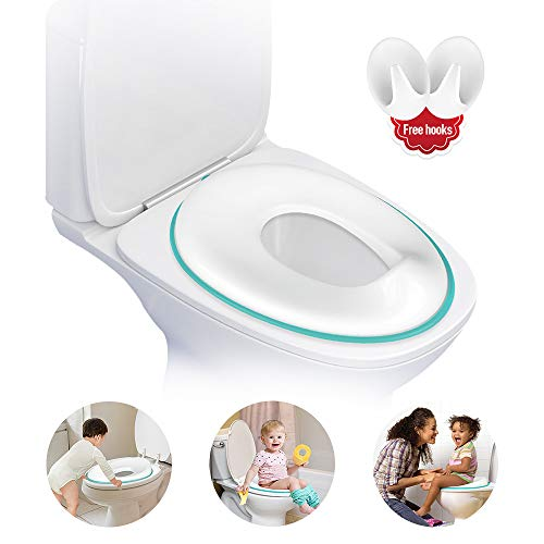 Potty Training Toilet Seat, Potty Training Seat for Boys and Girls, Toddler Toilet Trainer - Fits Round and Oval Toilet, Easy Clean with Two Free Hanging Hook?Blue?