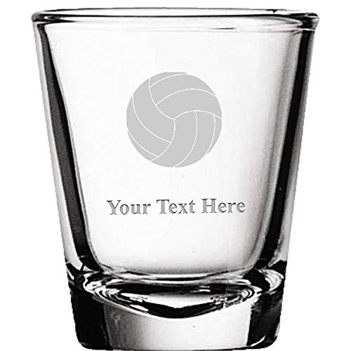 Custom Shot Glasses, Personalized Volleyball Shot Glass Gift Engraved Prime ()