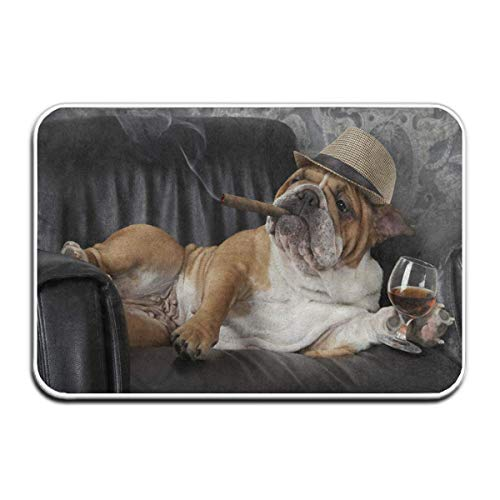 Jubenlcai Doormats Indoor Entrance 23.6 x 15.7 Inches Cute Bulldog with Cigar and Glass of Cognac Floor Mats for Shoe Scraper Rug Outdoor Bathroom Carpet