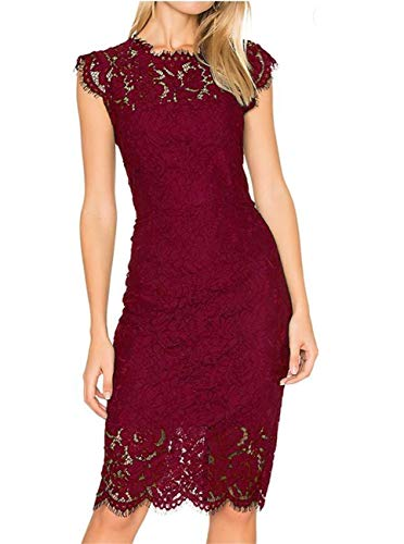 9b8c4ad19622e Women's Sleeveless Floral Lace Slim Evening Cocktail Mini Dress for Party  DM261 (XXL, Wine Red)