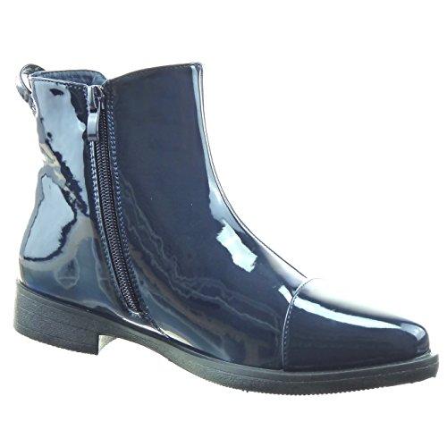 Sopily - damen Mode Schuhe Stiefeletten Chelsea Boots Patent - Blau WLD-8-1069 T 37