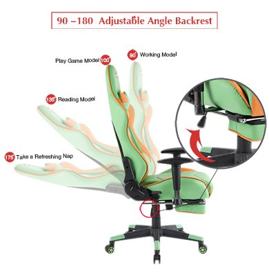 41c6ycN16NL - Ergonomic-Gaming-Chair-High-Back-Game-Chair-with-FootrestOrangeGreenBlack