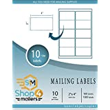"""Shop4Mailers 10-Up White Shipping Labels 2"""" x 4"""" ~100 Sheets, 1000 Labels"""