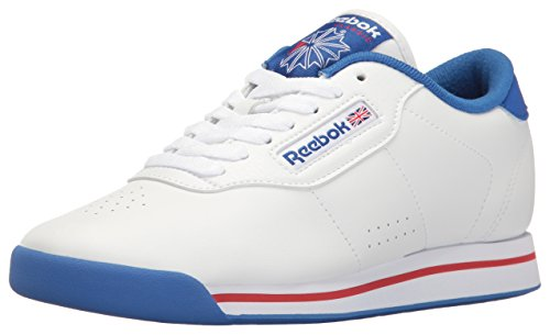 Reebok Women's Princess Fitness-W, White/Tetra Blue/Excellent Red, 5 M US