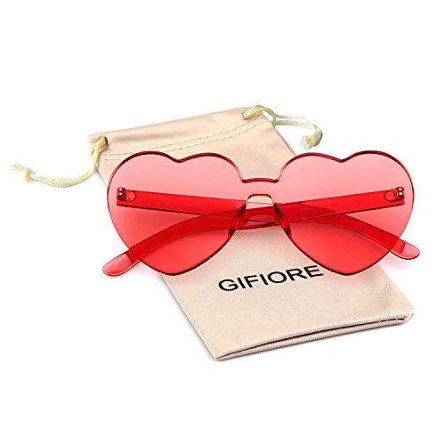 Heart Shape Rimless Sunglasses One Piece Transparent Candy Color Eyewear