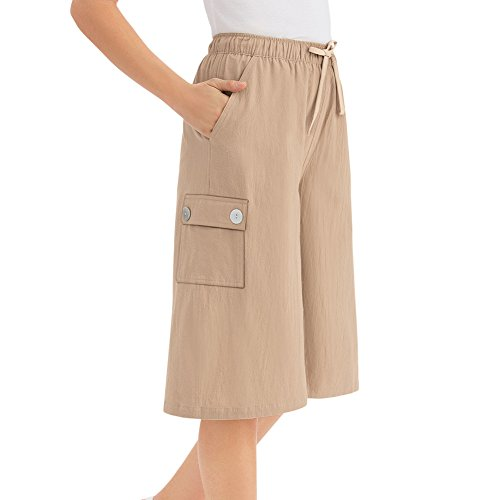 Women's Crinkle Cotton Gauze Clothing Cargo Pocket Elastic Waist Split Skirt, Khaki, Medium