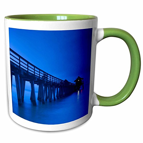 3dRose Danita Delimont - Piers - USA, Florida, Gulf Coast, Naples, Naples Pier, dawn. - 11oz Two-Tone Green Mug - Outlets Naples Florida