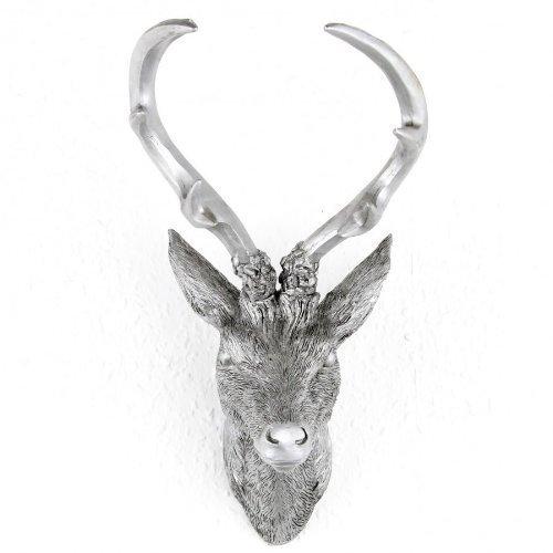 Hirschgeweih Hirschkopf Geweih 10-Ender in Silber, Metall-Optik 15 x 30 cm, Figur Skulptur Deko