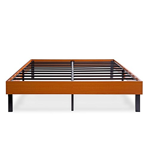 PrimaSleep Modern Wood Bed Frame Steel Slat Support Vintage Cherry, 14 H Full