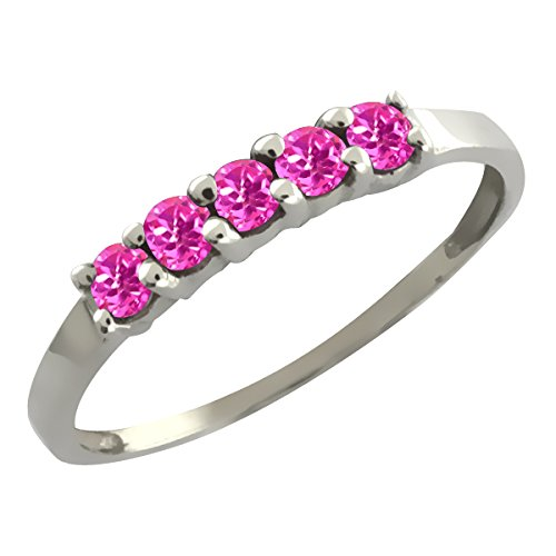 0.40 Ct 5-Stone Round Pink Sapphire 925 Sterling Silver Band 5-Stone Five Stone Anniversary Wedding Band