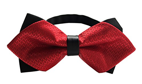 Child Kids Graphically Patterned Bow Ties Textured Bowties Solid Color Bold Red