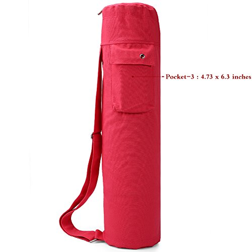 Baen Sendi Yoga Mat Bag with Expandable Pocket,Best Bags for Yogo Mats, Yoga Strap and Exercise Mat (Red)