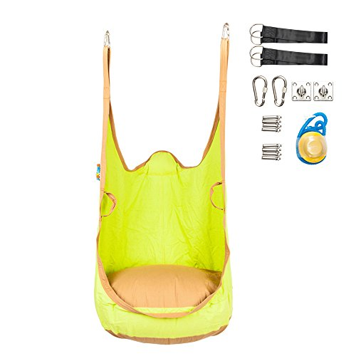 Cushions Chair Single Canvas - Hammock Pod Swing Chair for Kids Indoor and Outdoor Hanging Seat Nook (All Accessories Included)