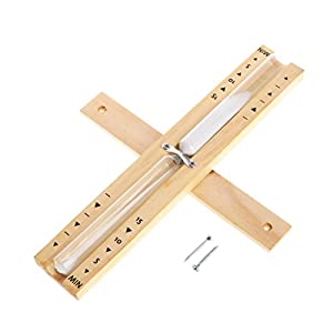 cuigu Sauna reloj de arena Temporizador, montaje en pared rotatoria Arena Temporizador Sauna Madera Reloj de arena Temporizador 15minutos, 29x 4,7cm 9