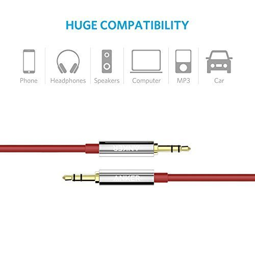 Anker 3.5mm Premium Auxiliary Audio Cable (4ft / 1.2m) AUX Cable for Beats Headphones, iPods, iPhones, iPads, Home / Car Stereos and More