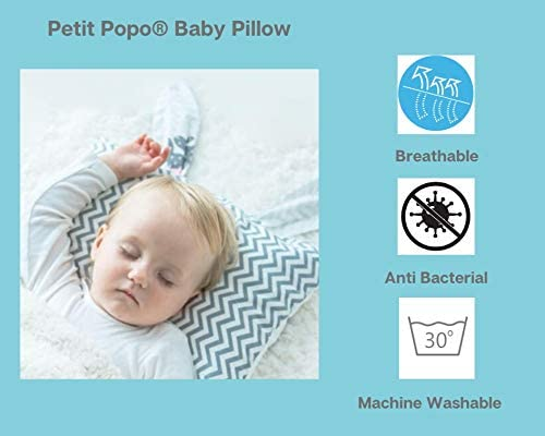 Natural Fibres Baby Pillow for Newborn Flat Head Syndrome Plagiocephaly . Petit Popo/® Baby Pillow for Flat Head Prevention 0-18 months old