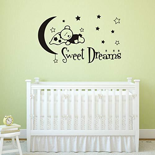 Sweet Dreams Wall Decals, Teddy Bear Moon Stars Vinyl Sticker, Animals Wall Decals, Wall Decals for Boy Girl Nursery Baby Decor(Y26)(Small,Black)