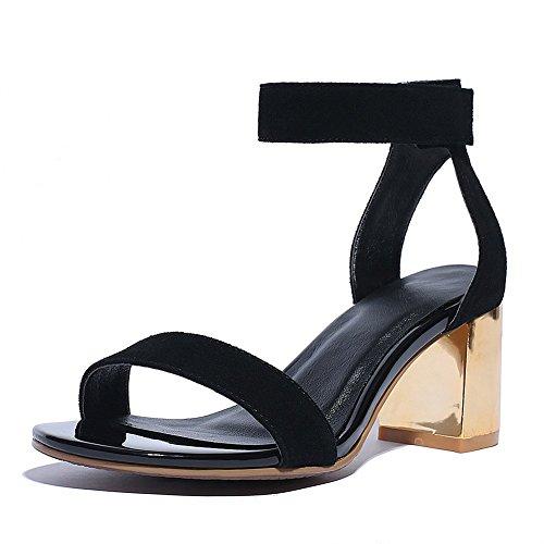 Adee Mujer Velcro De Piel De Oveja Sandalias Negro - negro
