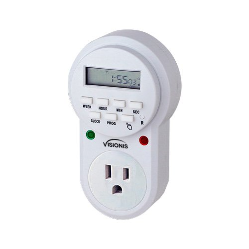 Visionis VIS-8000 Digital 7 Day Programmable Timer with 3 Prong Wall Plug for Access Control Home Lights and Other by Visionis