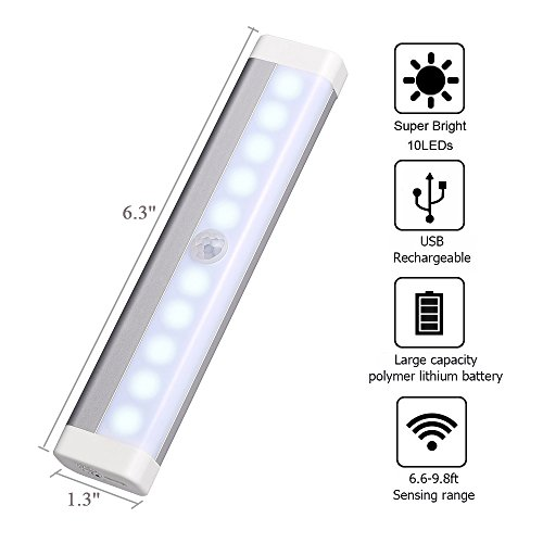 Ledgle 0.6W LED Under Cabinet Lights kit Smart Rechargeable Portable Light Activated Lamps for Closets Motion Sensor 10 LED Beads USB Charging