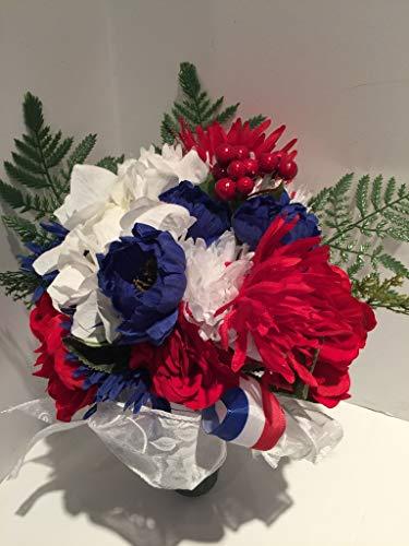 GRAVE DECOR - CEMETERY MARKER - FUNERAL ARRANGEMENT - MEMORIAL - FLOWER VASE - RED, WHITE, BLUE MIXED FLORAL - MEMORIAL DAY- VETERANS DAY- PATRIOTIC- WAR MEMORIAL