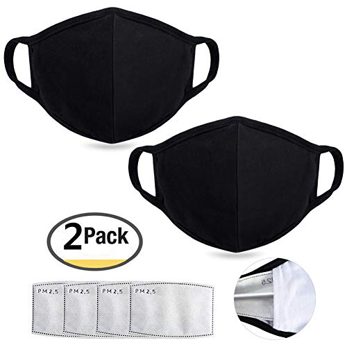 Anti Air Dust Masks and Smoke Pollution Mask - Reusable Washable Comfy - Anti Bacterial Activated Carbon N95 N99 PM2.5 Filters for Allergy for Women Man Black (2PCS black with 4 filter) by JKJK