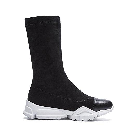 Black Femme Randonnée en Q1711 Plein KJJDE Hiver Plateforme WSXY Martin Plates Chaussures Bottes Classiques Zipper Cuir Automne Prime Air Ux7Pdq