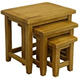 Tucan Rustic Oak Nest Of Tables / Nesting Set of 3 Side Tables / Living Room Furniture