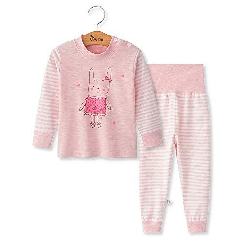 Chickwing Toddler Baby Girls Boys Pajama Set High Waist Sleepwears Pjs 2-Pack (2T, Pink Rabbit Stripes)